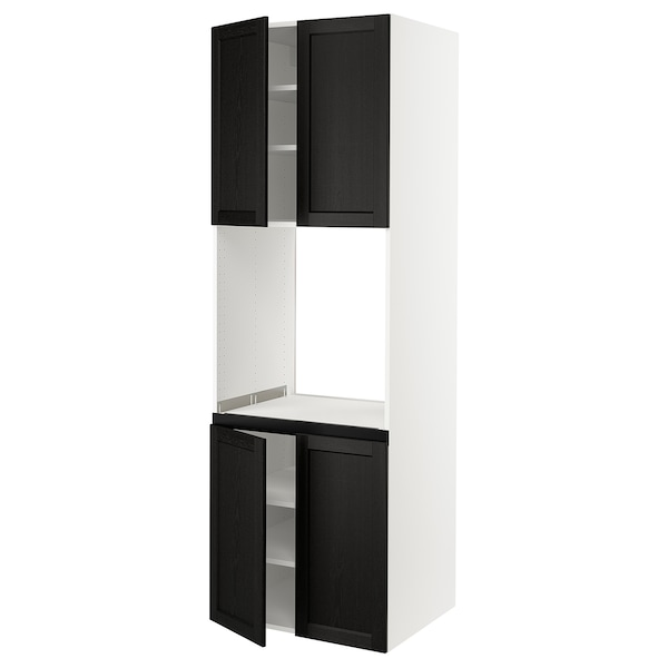 """SEKTION High cabinet for oven w 4 doors, white/Lerhyttan black stained, 30x24x90 """""""