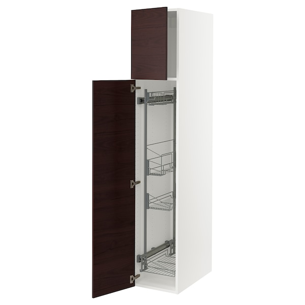 """SEKTION High cabinet/pull-out int fittings, white Askersund/dark brown ash effect, 15x24x80 """""""