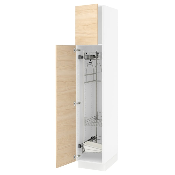 SEKTION High cabinet/pull-out int fittings, white/Askersund light ash effect, 15x24x80 ""