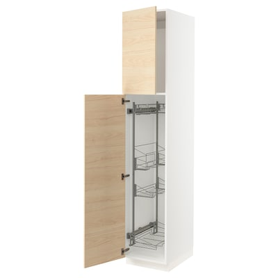 SEKTION High cabinet/pull-out int fittings, white/Askersund light ash effect, 18x24x90 ""