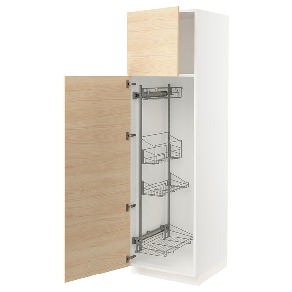 """SEKTION High cabinet/pull-out int fittings, white/Askersund light ash effect, 24x24x80 """""""