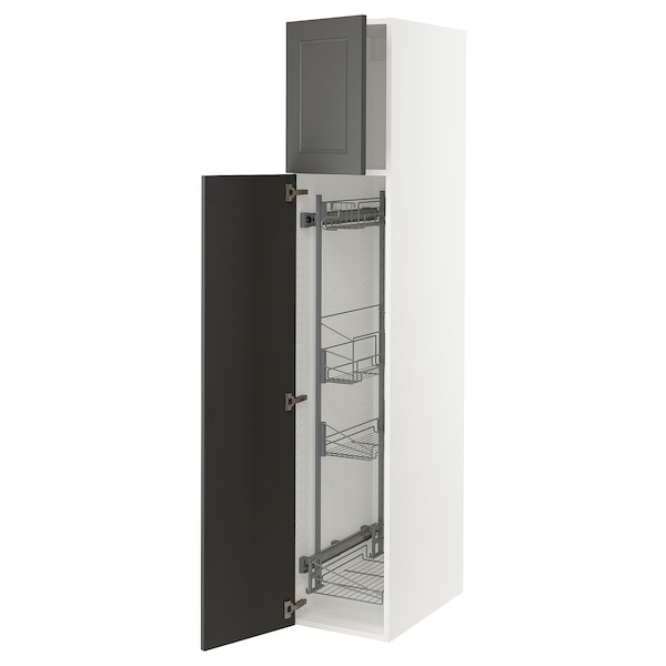 """SEKTION High cabinet/pull-out int fittings, white/Axstad dark gray, 15x24x80 """""""