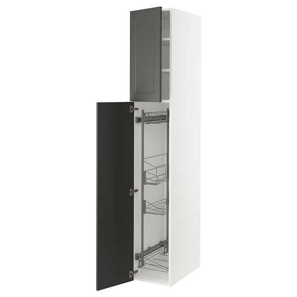 """SEKTION High cabinet/pull-out int fittings, white/Axstad dark gray, 15x24x90 """""""
