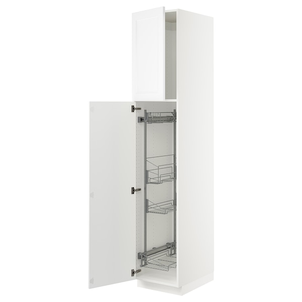 SEKTION High cabinet/pull-out int fittings, white/Axstad matt white, 18x24x90 ""