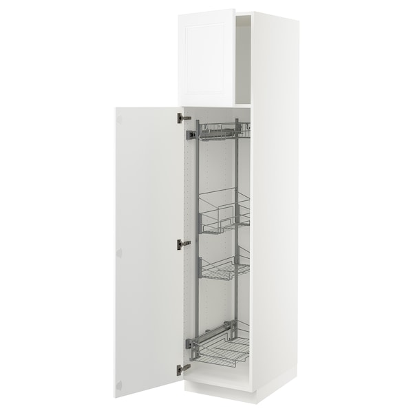SEKTION High cabinet/pull-out int fittings, white/Axstad matt white, 18x24x80 ""