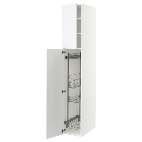 """SEKTION High cabinet/pull-out int fittings, white/Axstad matt white, 15x24x90 """""""