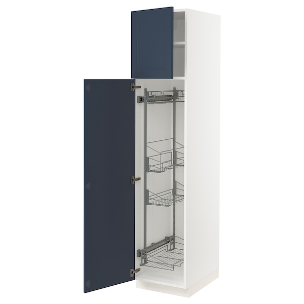 """SEKTION High cabinet/pull-out int fittings, white Axstad/matte blue, 18x24x80 """""""