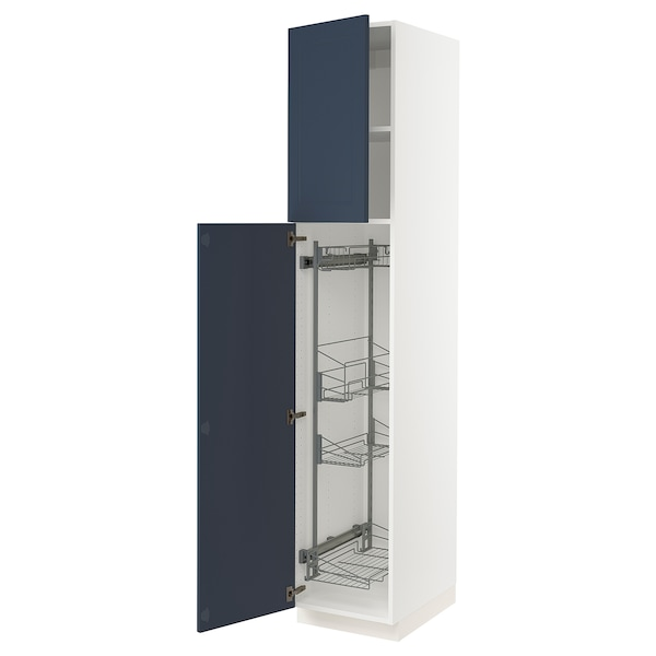 """SEKTION High cabinet/pull-out int fittings, white Axstad/matte blue, 18x24x90 """""""