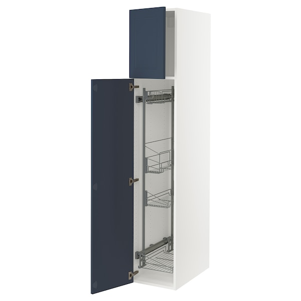 """SEKTION High cabinet/pull-out int fittings, white Axstad/matte blue, 15x24x80 """""""