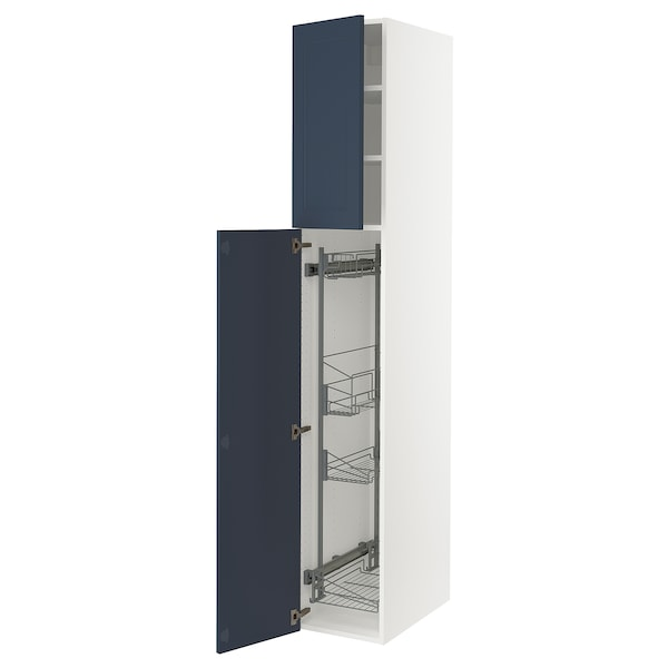 """SEKTION High cabinet/pull-out int fittings, white Axstad/matte blue, 15x24x90 """""""
