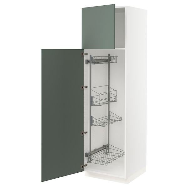 """SEKTION High cabinet/pull-out int fittings, white/Bodarp gray-green, 24x24x80 """""""