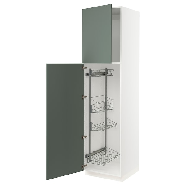 """SEKTION High cabinet/pull-out int fittings, white/Bodarp gray-green, 24x24x90 """""""