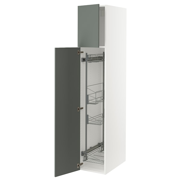 SEKTION High cabinet/pull-out int fittings, white/Bodarp gray-green, 15x24x80 ""