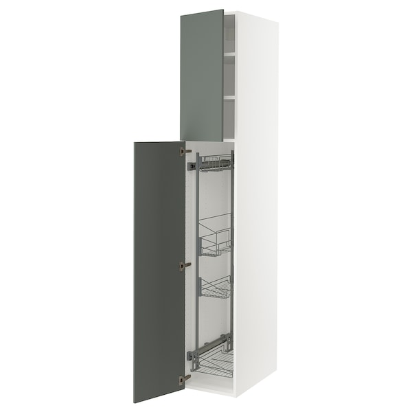 SEKTION High cabinet/pull-out int fittings, white/Bodarp gray-green, 15x24x90 ""