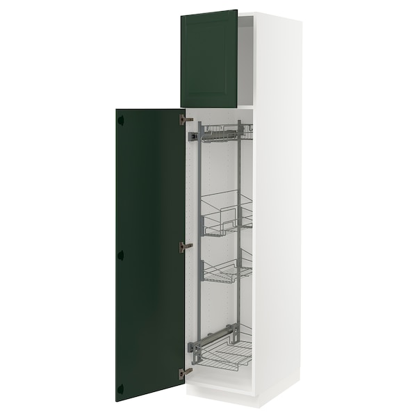 """SEKTION High cabinet/pull-out int fittings, white/Bodbyn dark green, 18x24x80 """""""