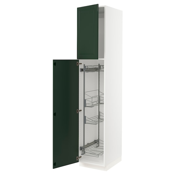 """SEKTION High cabinet/pull-out int fittings, white/Bodbyn dark green, 18x24x90 """""""