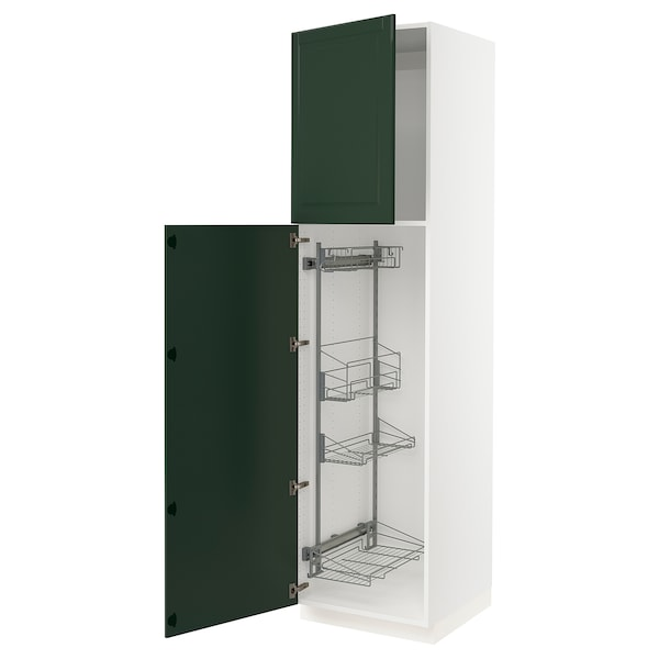 SEKTION High cabinet/pull-out int fittings, white/Bodbyn dark green, 24x24x90 ""