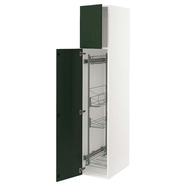 """SEKTION High cabinet/pull-out int fittings, white/Bodbyn dark green, 15x24x80 """""""