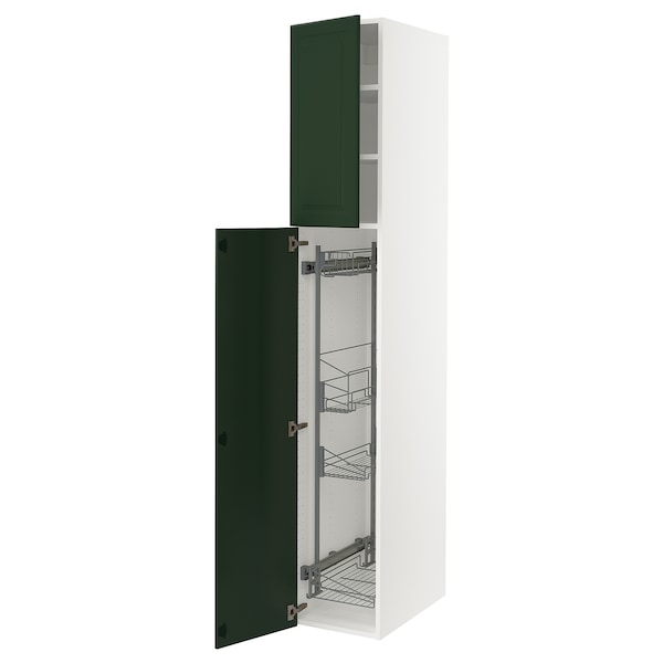 """SEKTION High cabinet/pull-out int fittings, white/Bodbyn dark green, 15x24x90 """""""