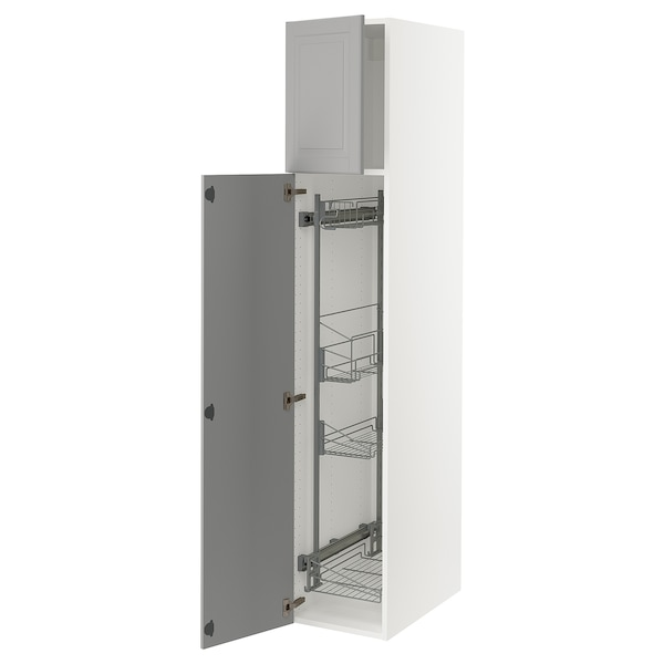 """SEKTION High cabinet/pull-out int fittings, white/Bodbyn gray, 15x24x80 """""""