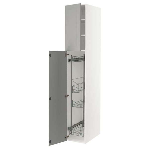 """SEKTION High cabinet/pull-out int fittings, white/Bodbyn gray, 15x24x90 """""""