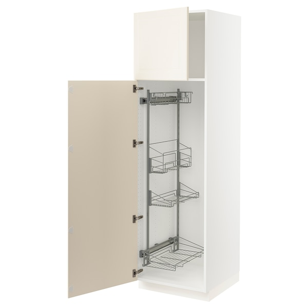 """SEKTION High cabinet/pull-out int fittings, white/Bodbyn off-white, 24x24x80 """""""