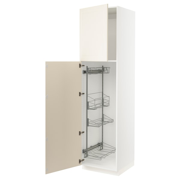SEKTION High cabinet/pull-out int fittings, white/Bodbyn off-white, 24x24x90 ""