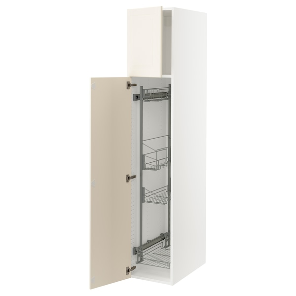 SEKTION High cabinet/pull-out int fittings, white/Bodbyn off-white, 15x24x80 ""