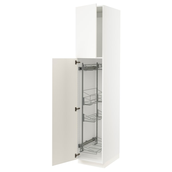 """SEKTION High cabinet/pull-out int fittings, white/Grimslöv off-white, 18x24x90 """""""