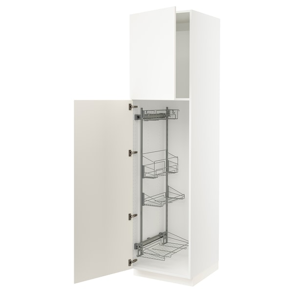 """SEKTION High cabinet/pull-out int fittings, white/Grimslöv off-white, 24x24x90 """""""