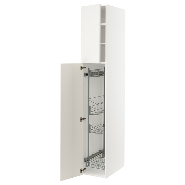 """SEKTION High cabinet/pull-out int fittings, white/Grimslöv off-white, 15x24x90 """""""