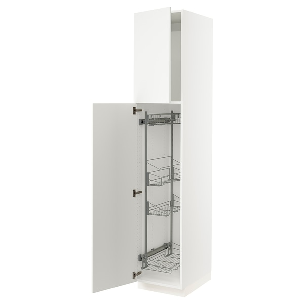"""SEKTION High cabinet/pull-out int fittings, white/Häggeby white, 18x24x90 """""""