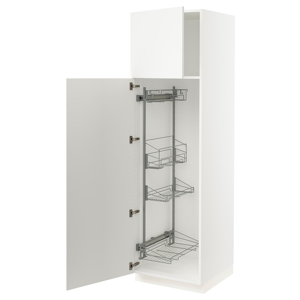 SEKTION High cabinet/pull-out int fittings, white/Häggeby white, 24x24x80 ""