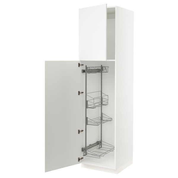SEKTION High cabinet/pull-out int fittings, white/Häggeby white, 24x24x90 ""