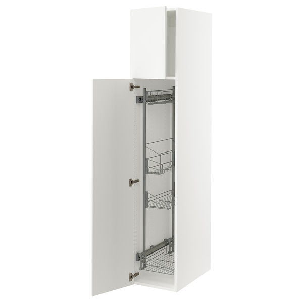 """SEKTION High cabinet/pull-out int fittings, white/Häggeby white, 15x24x80 """""""