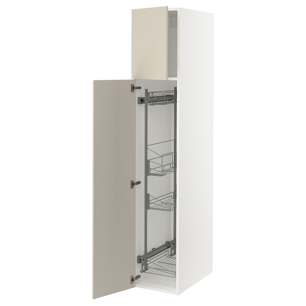 """SEKTION High cabinet/pull-out int fittings, white/Havstorp beige, 15x24x80 """""""
