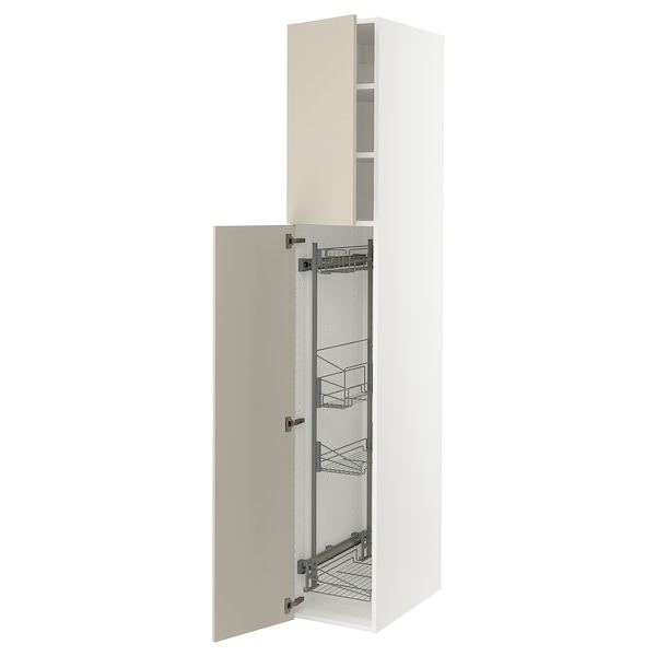 """SEKTION High cabinet/pull-out int fittings, white/Havstorp beige, 15x24x90 """""""