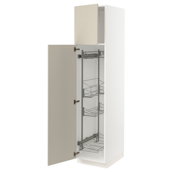 """SEKTION High cabinet/pull-out int fittings, white/Havstorp beige, 18x24x80 """""""