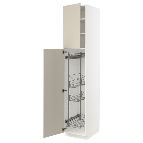"""SEKTION High cabinet/pull-out int fittings, white/Havstorp beige, 18x24x90 """""""
