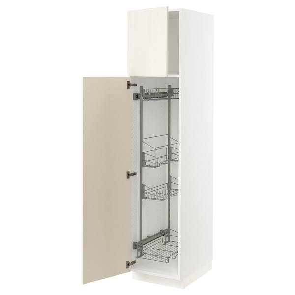 """SEKTION High cabinet/pull-out int fittings, white/Hittarp off-white, 18x24x80 """""""