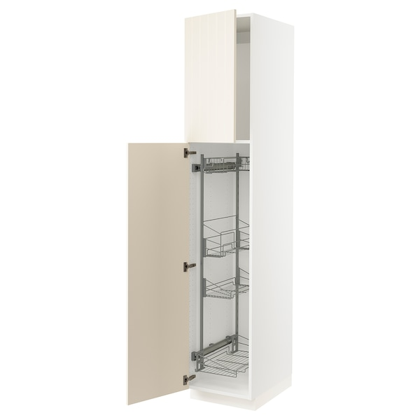 """SEKTION High cabinet/pull-out int fittings, white/Hittarp off-white, 18x24x90 """""""