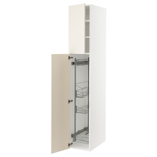 SEKTION High cabinet/pull-out int fittings, white/Hittarp off-white, 15x24x90 ""