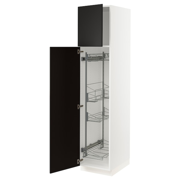 """SEKTION High cabinet/pull-out int fittings, white/Kungsbacka anthracite, 18x24x80 """""""