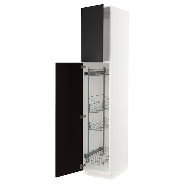"""SEKTION High cabinet/pull-out int fittings, white/Kungsbacka anthracite, 18x24x90 """""""