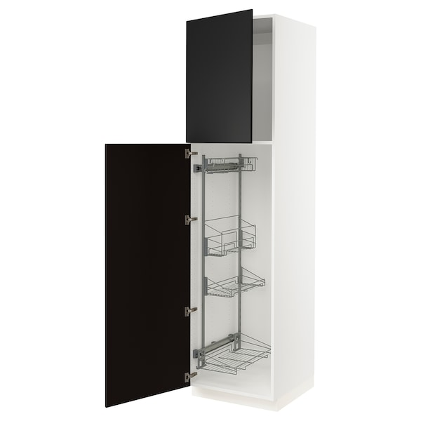 """SEKTION High cabinet/pull-out int fittings, white/Kungsbacka anthracite, 24x24x90 """""""