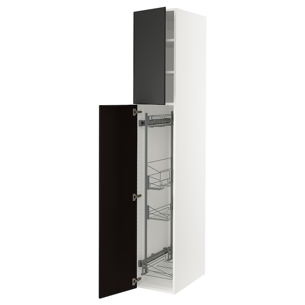 """SEKTION High cabinet/pull-out int fittings, white/Kungsbacka anthracite, 15x24x90 """""""