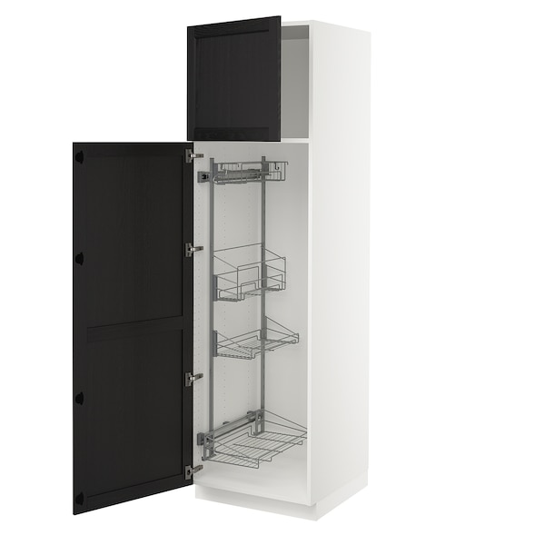 """SEKTION High cabinet/pull-out int fittings, white/Lerhyttan black stained, 24x24x80 """""""