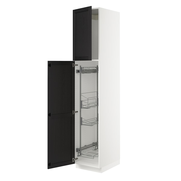 SEKTION High cabinet/pull-out int fittings, white/Lerhyttan black stained, 18x24x90 ""