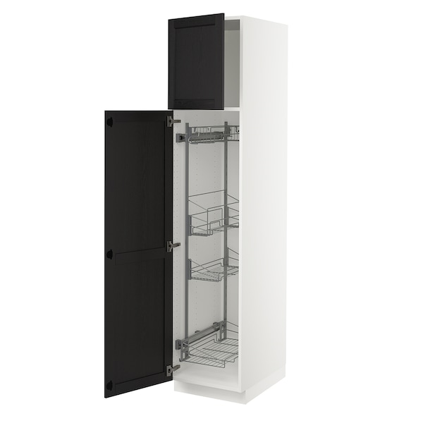 """SEKTION High cabinet/pull-out int fittings, white/Lerhyttan black stained, 18x24x80 """""""