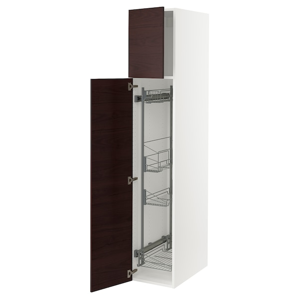SEKTION High cabinet/pull-out int fittings, white/Lerhyttan black stained, 15x24x80 ""
